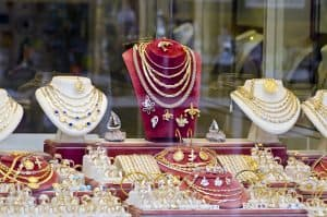 Display of various jewelry in store window